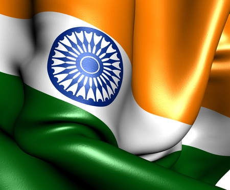 south india: Flag of India. Close up.