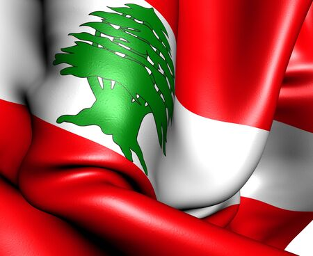 Flag of Lebanon. Close up. Stock Photo - 9705349