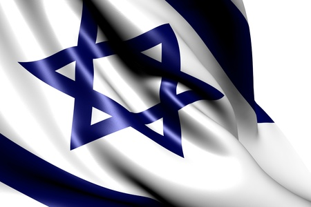 Flag of Israel against white background. Close up.  Stock Photo