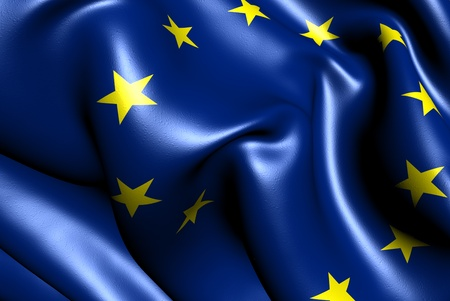 europe closeup: Flag of EU. Close up.  Stock Photo