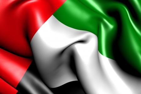 Verenigde Arabische Emiraten: Vlag van Verenigde Arabische Emiraten. Close-up.