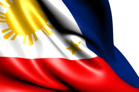 Flag of Philippines against white background. Close up.  photo