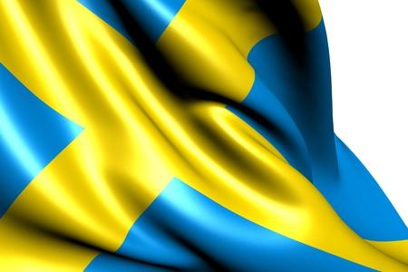 白い背景に対してスウェーデンの旗。クローズ アップ。