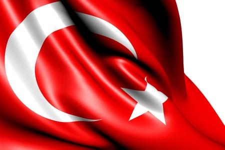turkey flag: Flag of Turkey against white background. Close up.