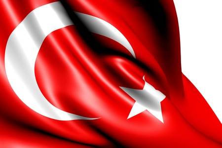 Flag of Turkey against white background. Close up.
