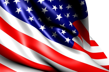 Flag of USA against white background. Close up. Zdjęcie Seryjne - 9770075