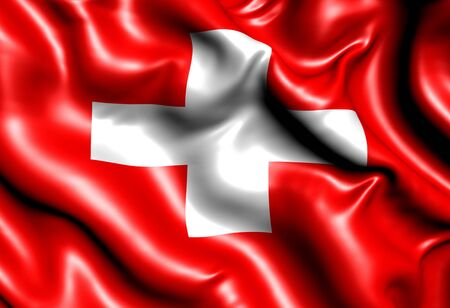 swiss flag: Flag of Switzerland. Close up.
