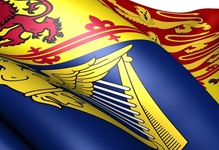Flag of Royal Standard of the United Kingdom (Scotland). Close up.  photo