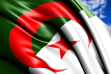 fluttering: Flag of Algeria against cloudy sky. Close up.