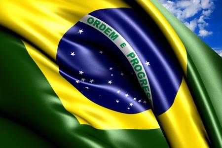 Vlag van Brazilië tegen de bewolkte hemel. Close-up. Stockfoto - 9854736