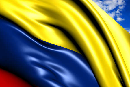 Flag of Colombia against cloudy sky. Close up.  photo