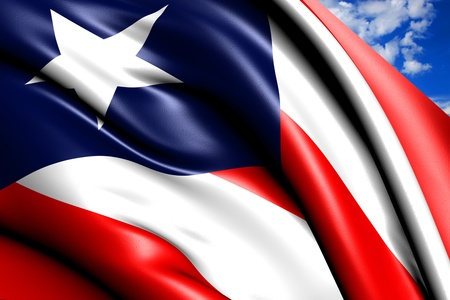Flag of Puerto Rico against cloudy sky. Close up.