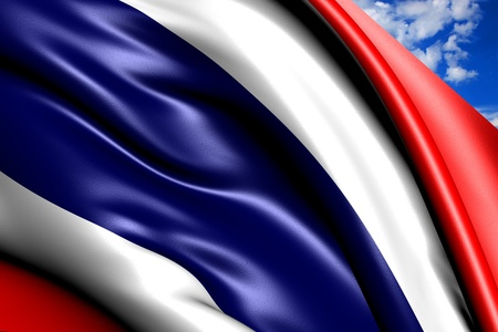 Flag of Thailand against cloudy sky. Close up.  photo