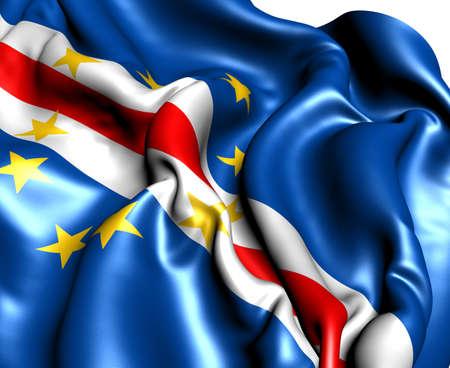 Flagge von Cap-Vert gegen. Close up. Lizenzfreie Bilder - 9873130