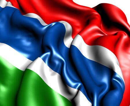 gambia: Flag of Gambia. Close up.