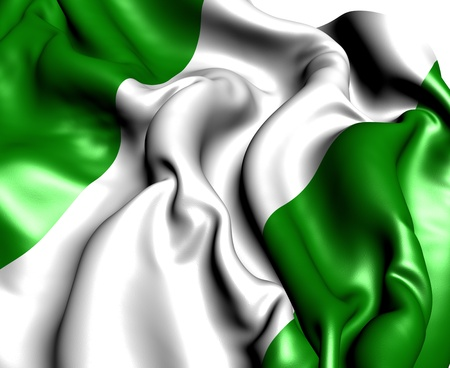 green flag: Flag of Nigeria. Close up.