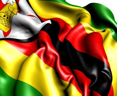 zimbabwe: Flag of Zimbabwe. Close up.