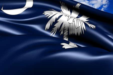Flag of South Carolina against cloudy sky. Close up.  photo