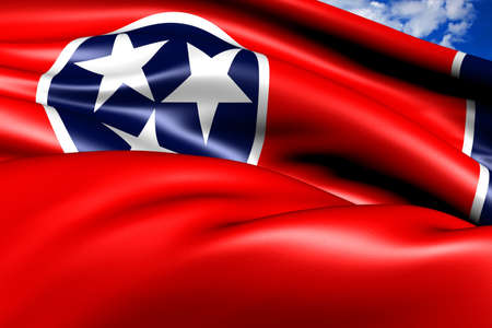 Flag of Tennessee against cloudy sky. Close up.