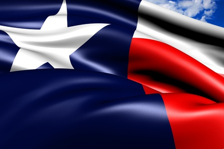 Flag of Texas against cloudy sky. Close up.  Stock Photo