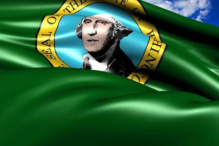 Flag of Washington (state). Close up.  photo