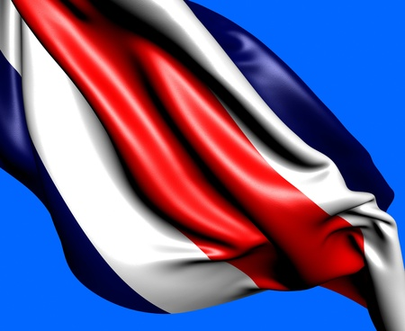 Flag of Costa Rica against blue background. Close up.  photo