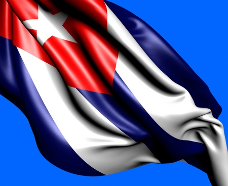 Flag of Cuba against blue background. Close up.  photo