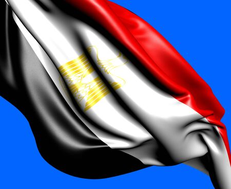 Flag of Egypt against blue background. Close up.  photo