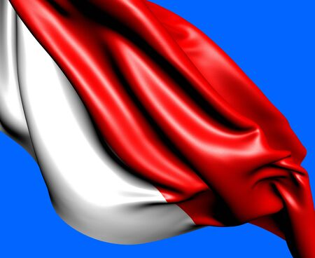 Flag of Indonesia against blue background. Close up. Stock Photo - 10057059