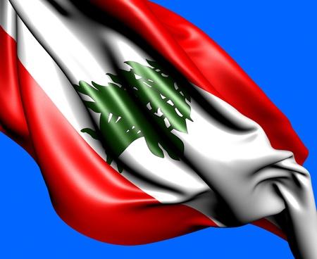 Flag of Lebanon against blue background. Close up.  photo