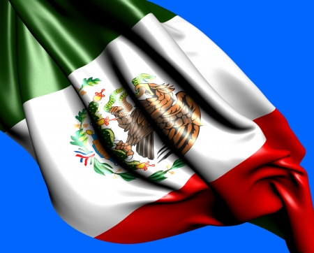 Flag of Mexico against blue background. Close up.  Stock Photo