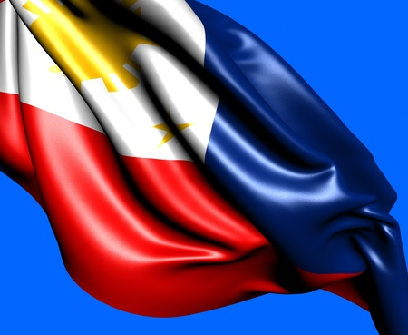 Flag of Philippines against blue background. Close up.  photo