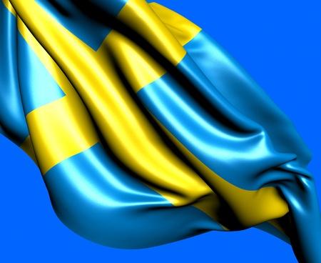 Flag of Sweden against blue background. Close up.  photo