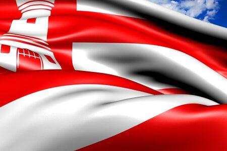 europe closeup: Flag of Alkmaar. Close up.  Stock Photo