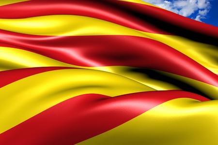 Flag of Catalonia. Close up. Stock Photo
