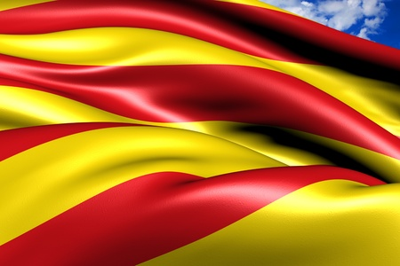 spainish: Flag of Catalonia. Close up. Stock Photo