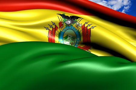 bolivia: Flag of Bolivia against cloudy sky. Close up.  Stock Photo