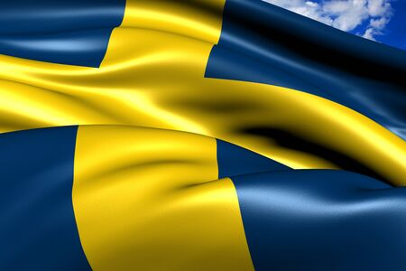 Flag of Sweden against cloud sky. Close up.  photo