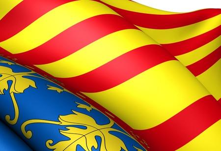 valencia: Flag of Valencia. Close up.