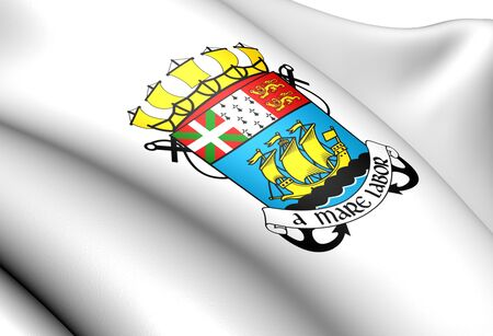 collectivity:  Saint Pierre and Miquelon coat of arms. Close up.