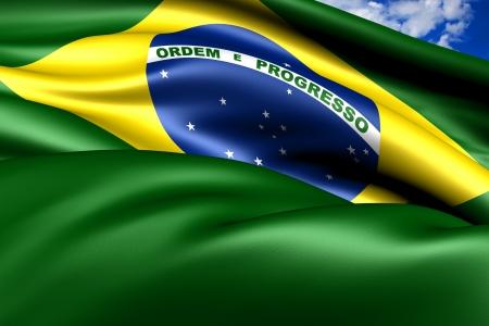 brasilia: Flag of Brazil  against cloudy sky. Close up.  Stock Photo