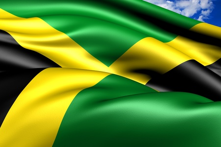 Flag of Jamaica. Close up.