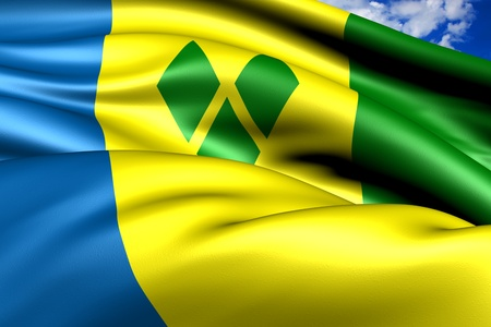 grenadines: Flag of Saint Vincent and the Grenadines. Close up.