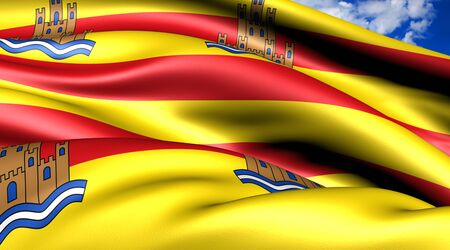 ibiza: Flag of Ibiza. Close up.