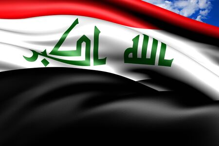 Flag of Iraq against cloudy sky. Close up.  photo