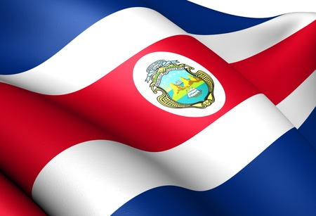 central: Flag of Costa Rica. Close up.
