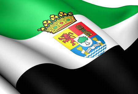extremadura: Flag of Extremadura. Close up.