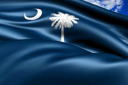 Flag of South Carolina, USA. Close up.  photo
