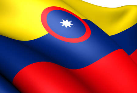 ensign: Civil Ensign of Colombia. Close up.    Stock Photo