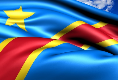 Democratic Republic of the Congo flag. Close up.  Stock Photo